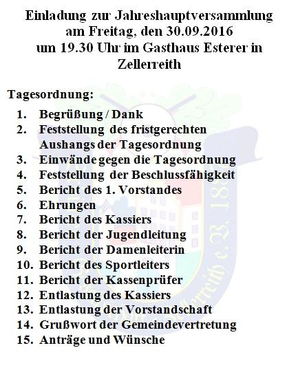 jahreshauptversammlung - schützengesellschaft zellerreith e.v. 1887, Einladung